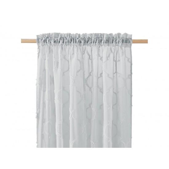 Svetlosivá záclona na štipčeky s elegantným vzorom