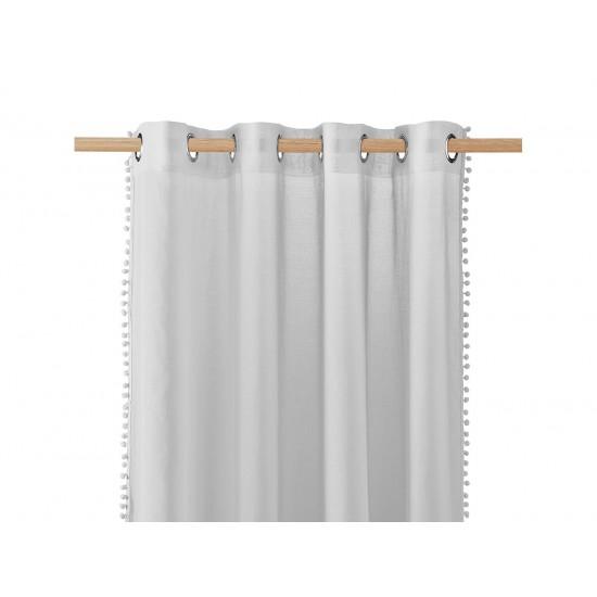 Svetlosivá záclona na kruhy s guličkovým lemom