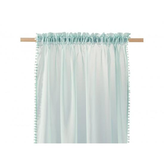 Mentolová záclona na štipčeky s guličkovým lemom