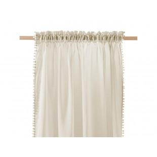 Béžová záclona na štipčeky s guličkovým lemom