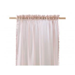 Staroružová záclona na štipčeky s guličkovým lemom